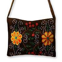 Wool shoulder bag, 'Sunflower Twins' - Wool shoulder bag