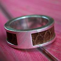 Men's sterling silver and leather band ring, 'Strength' - Men's Sterling Silver and Leather Band Ring