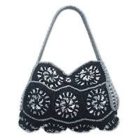 Soda pop-top shoulder bag, 'Mandala Black' - Artisan Hand Crocheted Black Soda Pop-top Shoulder Bag