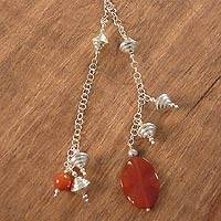 Carnelian long necklace, 'Versatile' - Carnelian long necklace