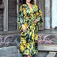 Women's batik robe, 'Golden Firebirds' - Women's batik robe