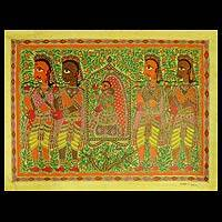 Madhubani painting, 'The Bride' - Madhubani painting