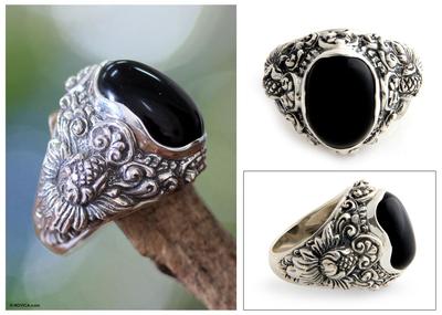 Novica Onyx ring, Moonlight in Black