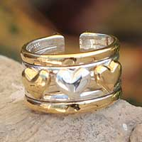 Gold plated heart ring, 'Our Three Hearts' - Gold plated heart ring