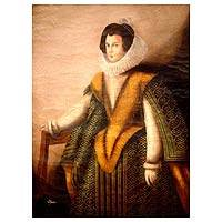 'Woman Dressed in Green and Yellow' - Colonial Style Artwork of Spanish Noblewoman