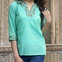 Cotton blouse, 'Cool Garden' - Cotton blouse