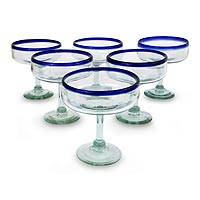 Margarita glasses, 'Mexican Happy Hour' ( set of 6) - Clear Margarita Glasses with Cobalt Blue Rim (Set of 6)