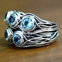 Blue topaz cocktail ring, 'Hidden Treasure' - Blue topaz cocktail ring