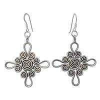 Sterling silver dangle earrings, 'Floral Cross' - Sterling silver dangle earrings