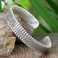 Sterling silver cuff bracelet, 'Unique' - Sterling silver cuff bracelet