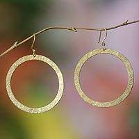 Gold plated dangle earrings, 'Golden Sun' - Gold plated dangle earrings