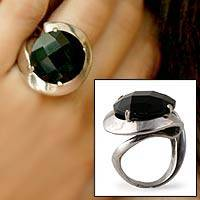 Onyx solitaire ring, 'Cosmology' - Onyx solitaire ring