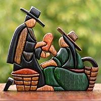 Cedar and mahogany sculpture, 'Street Merchant' - Cedar and Mahogany Market Scene Sculpture