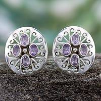 Amethyst button earrings, 'Violets' - Amethyst button earrings