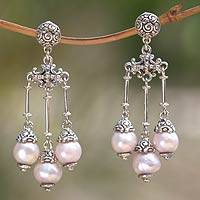 Cultured pearl chandelier earrings, 'Trinity in Pink' - Cultured pearl chandelier earrings