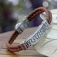 Men's sterling silver and leather bracelet, 'Jakarta Man' - Men's Sterling Silver and Leather Bracelet