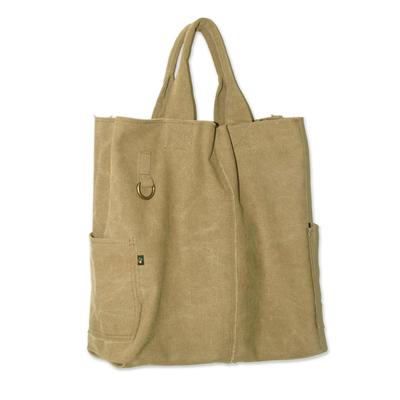 Novica Cotton tote bag, Voyages in Brown - Hand Made Cotton Shoulder Bag