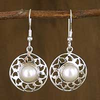 Pearl dangle earrings, 'Moonlight Lace' - Pearl dangle earrings