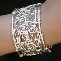 Sterling silver cuff bracelet, 'Electrifying' - Sterling silver cuff bracelet