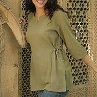 Cotton tunic, 'Olive Flirt' - Cotton tunic
