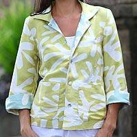Reversible silk jacket, 'Tropical Trends' - Reversible silk jacket