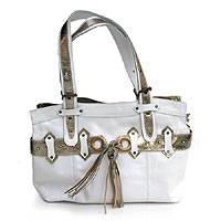 Leather handbag, 'Silver White' - Leather handbag