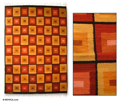 Wool area rug, 'Golden Windows' (4x5) - Hand Woven Wool Rug in Warm Colors (4x5)