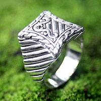 Men's sterling silver ring, 'Royal Fern' - Men's sterling silver ring