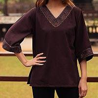 Cotton blouse, 'Lanna Nymph' - Cotton blouse