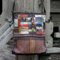 Hemp and cotton shoulder bag, 'Lanna Patchwork' - Hemp and cotton shoulder bag