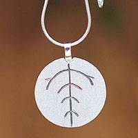 Sterling silver pendant necklace, 'Leaf Circle' - Sterling silver pendant necklace