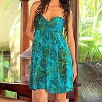 Batik dress, 'Java Emerald' - Batik dress