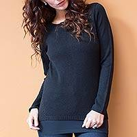 Cotton and alpaca sweater, 'Puno Black' - Handcrafted Peruvian Classic Pullover Sweater