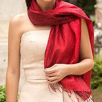 Pin tuck scarf, 'Red Transition' - Pin tuck scarf