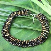 Beaded choker, 'Golden Night' - Beaded Choker Necklace from Thailand