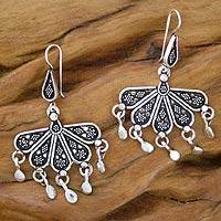 flower earrings, 'Blossoming Twilight' - flower earrings