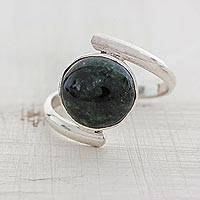 Jade cocktail ring, 'Verdant Embrace' - Central American Modern Sterling Silver Green Jade Ring