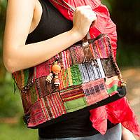 Cotton handbag, 'Hill Tribe Treasure' - Cotton Patchwork Shoulder Bag