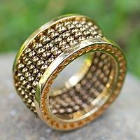 Gold plated band ring, 'Rosette' - Gold Plated Band Ring