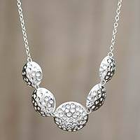 Silver pendant necklace, 'Moon Walker' - Handcrafted Fine Silver Necklace
