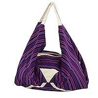 Cotton hobo bag, 'Chuaxan' - Large Handwoven Handbag from Guatemala