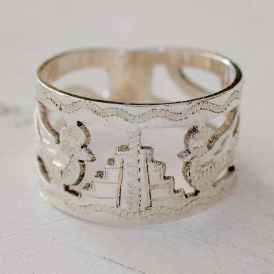 om ring silver fox frisco - Unique Sterling Silver Bird Band Ring