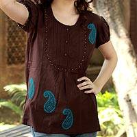 Cotton blouse, 'Chocolate Paisley' - Hand Crafted Brow Cotton Paisley Cotton Blouse
