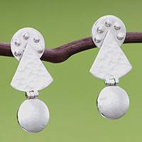 Silver dangle earrings, 'Equilibrium' - Silver dangle earrings