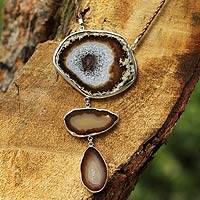 Agate Y necklace, 'Earth Mystique' - Hand Made Agate Pendant Necklace