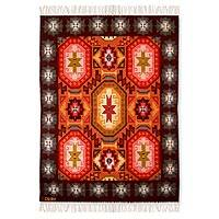 Wool area rug, 'Cosmos' (4x5) - Wool Area Rug Hand Woven in Peru (4x5)