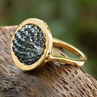 Gold plated cocktail ring, 'Gray Meridian' - Gold Plated Beaded Cocktail Ring