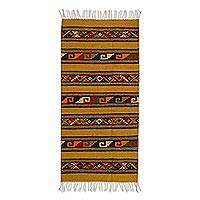Zapotec wool rug, 'Cycles of Life' (2.5x5) - Mexican Geometric on Brown Wool Area Rug (2.5x5)