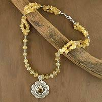 Citrine floral necklace, 'Precious Petals' - Sterling Silver and Citrine Necklace Floral Jewelry