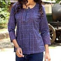 Cotton blouse, 'Blue Riddles' - Cotton Embroidered Blouse Top from India